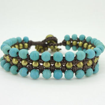 1 Wrap turquoise  gold plate bead  bell Charm Chain Bracelet