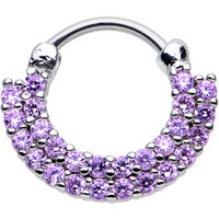 "16 Gauge 3/8"" Tanzanite CZ Double Row of Glamour Septum Clicker 