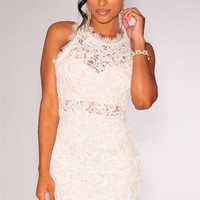 White Embroidered Lace Sleeveless Mini Bodycon Dress