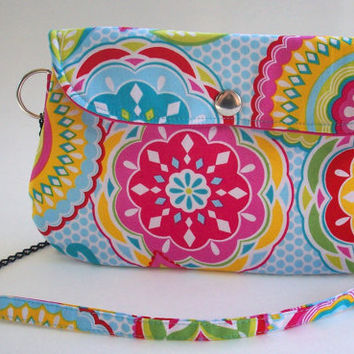 Colorful Mandala Clutch Purse with Chain Strap / Kaleidescope / Bright Color Flowers