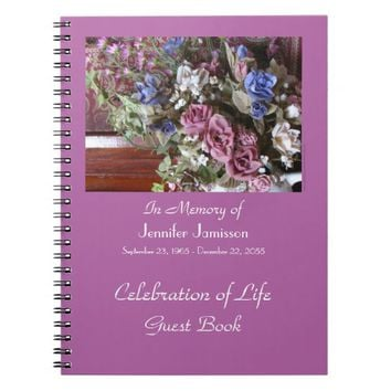 Celebration of Life Guest Book, Vintage Flowers Notebook