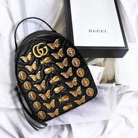 Gucci GG Marmont Animal Studs Leather Backpack Daypack Black
