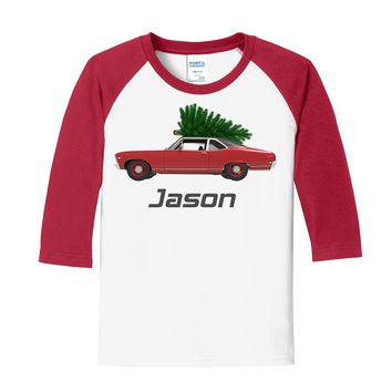 Christmas Tree Coupe on Personalized White/Red Raglan Sleeve T-Shirt