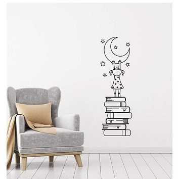 Vinyl Decal Wall Sticker Girl Books Moon Stars Decor for Kids Nursery (g036)