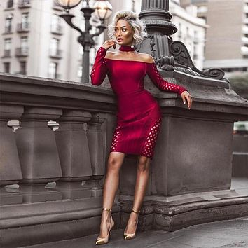 COOKIE Wine Off Shoulder Long Sleeve Mini Cut Out Sexy Dress
