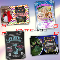 Frozen Princess Chalkboard Hallowen - Invitation Card - Birthday Party Kids - InviteKids