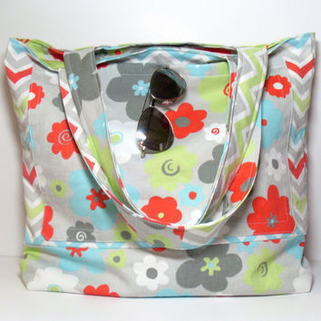 Large Summer Beach Bag - Made To Order - Chevron Floral Flowers - Multiple Pockets -  Aqua Red Gray Green - Reversible Beach Tote