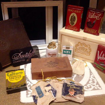13 piece Collection of 1900's-80's Cigarette & Pipe Collectables  Vintage tins unopened Kool cigs Doral lighter Pall Mall celluloid box etc.
