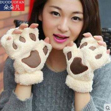PEAPGB2 2016 Free Shipping Fluffy Bear/Cat Plush Paw/Claw Glove Novelty Halloween Soft Toweling Half Covered Women's Gloves Mittens