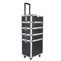 SONGMICS Alumi 2-in-1 Rolling Makeup Train Case Cosmetic Trolley Box with lock, Lift Handle and 4 Wheels UJHZ04B