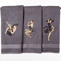 Halloween Pinup Bath Towels | Girlie Bath Accessories by Sin in Linen