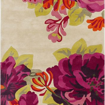 Sanderson Floral and Paisley Area Rug Red, Pink