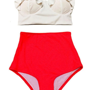 Simple Chic Swimsuit Bikini Bathing suit : White Midkini Top and Red High waist waisted rise High-waist High-waisted High-rise Bottom S M