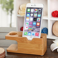 Bamboo Combo Charging Dock Cradle Holder for Apple Watch  iPhone 6   6 plus   5S   5C   5 - Wood Color