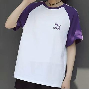 PUMA summer new tide brand men and women couple models loose string T-shirt F-CY-MN Purple