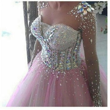 Pink Ball Gown Crystal Beading Prom Dress With Long Sleeve Vestidos De Formatura Long Graduation Dress