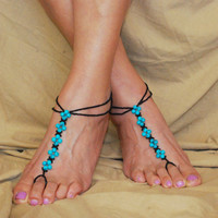 Turquoise Blue/Black Barefoot Sandals, Beach Footless Sandals, Beach Wedding, Bottomless Sandals, Foot Jewelry, Anklet, Accessory, Toe Ring