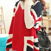 OASAP - Union Jack Style Loose Sweater - Street Fashion Store