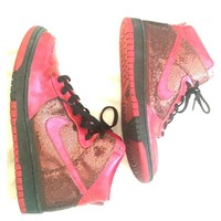 Red Glitter Nike Air Force One Shoes