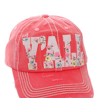 Floral Hey Ya'll Distressed Cotton Baseball Cap Hat Hot Pink, Embroidered On Torn Denim Decor