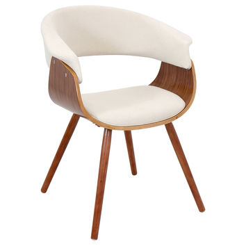 LumiSource Walnut/Cream Vintage Mod Accent Chair CHR-JY-VMO-WL