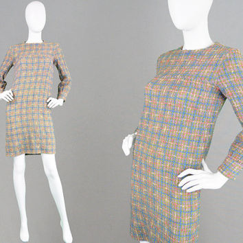 Vintage 60s Dress Hand Knit Shift Dress Multicolored Wool Dress Green Plaid Dress Short Mod Dress Tartan Dress 1960s Mini Dress Petite Dress