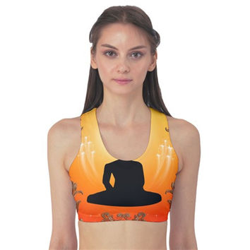 Buddha On Mysical Background With Glowing Light Sports Bra