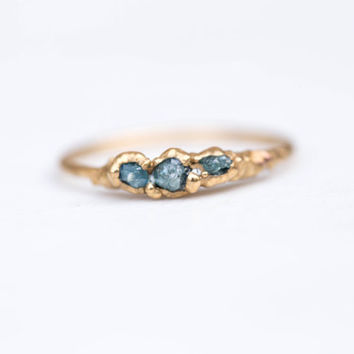 Triple Raw Blue Diamond Ring, Stackable Raw Diamond Ring, April Birthstone Ring, Raw Diamond Stacking Ring, Electroformed Diamond Ring