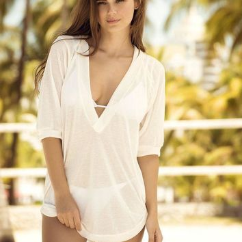 ESBONS White Sheer Hoodie Cover Up & Beach Dress