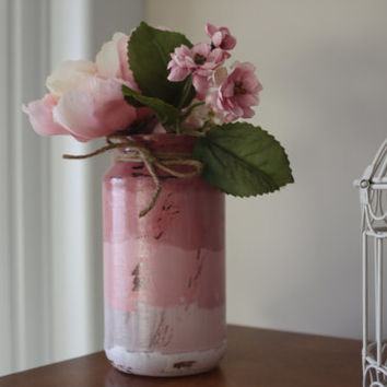 Shabby Chic Ombre Centerpiece, Cottage Chic decorations, Painted Jars, Ombre Jars, Decorative Jars, Pink Wedding, Rustic Wedding, Vintage
