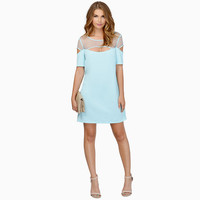 Mesh Embroidered Short Sleeve Cut-Out A-Line Mini Dress