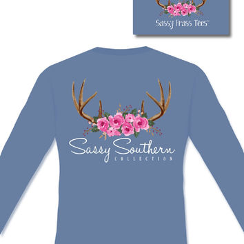 Sassy Frass Comfort Colors Antlers & Roses Deer Skull Long Sleeve Bright Girlie T Shirt