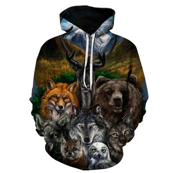 Bear Owl Fox Wolf Hoodie Sweatshirt Men/Women New Fashion Pullover Novelty Tracksuits Casual 3D Hooded Hoody 6XL Dropship