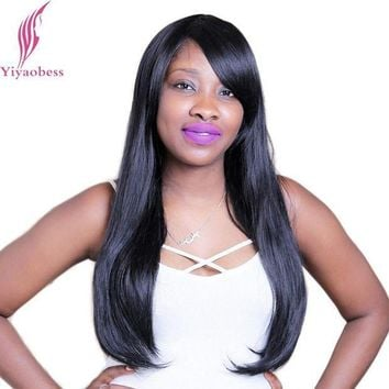 ICIKION Yiyaobess 60cm 1B Straight Long Black Wig With Bangs Heat Resistant Synthetic Natural Hair Wigs For African American Women