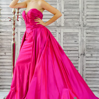 Jovani 36163 In Stock Fuchsia SZ 6 Silk Pageant Evening Gown Prom Dress