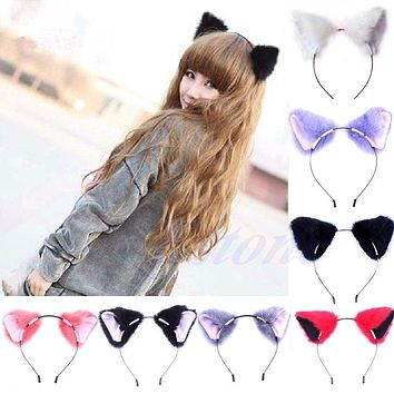 Fashion Girl Cute Fashion Cat Fox Ear Long Fur Hair Headband Anime Cosplay Party Costume Macchar Cosplay Catalogue