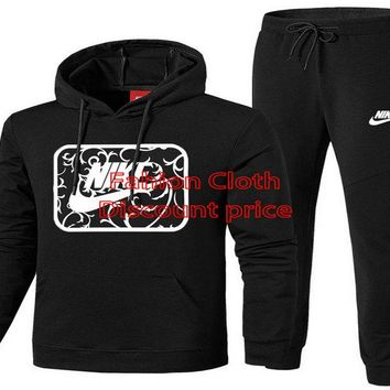 Baseball Mens Hoodie Sportswear Air Fleece Joggers Suit Black
