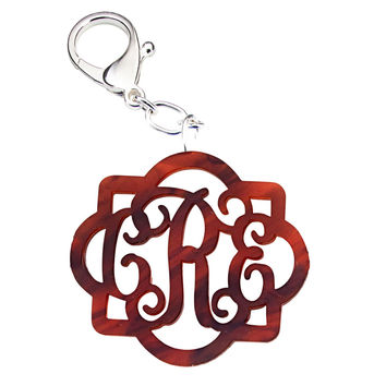 Fancy Monogram Acrylic Keychain with Silver Claw Clip