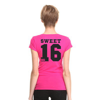 Pink V-Neck Sweet 16 T-shirt - Birthday gift for Teenagers, 16th Birthday Gift Ideas, 16th Birthday Outfit