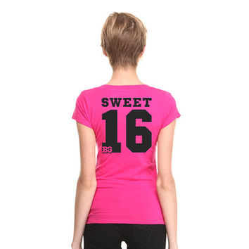 Pink V Neck Sweet 16 T Shirt