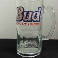 New Heavy Glass Bud King of Beers 32oz. Mug W/ Handle