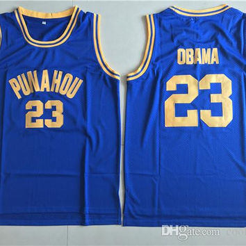 Cheap #23 Barack Obama Jerseys Punahou High School Throwback Barack Obama Basketball Jerseys President Navy Blue Shirts Mesh Jersey