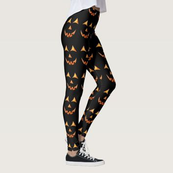 Halloween Jack O'lantern Pumpkin Face Graphic Leggings