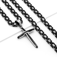 Mens 316L Stainless Steel Silver Black Chain Link Necklace Cross Pendant