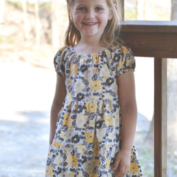 5T girls dress, summer spring modest peasant dress, tiered, children's clothing, short, black and yellow flowers cotton elastic
