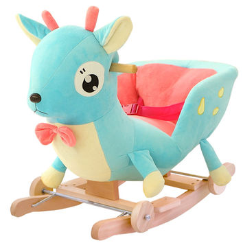 Kingtoy Plush Baby Rocking Chair Children Wood Swing Seat Kids Outdoor Ride on Rocking Stroller Toy