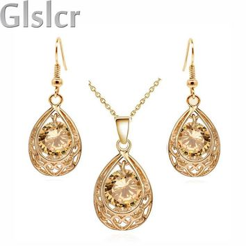 Vintage queen Bride 18K Gold Plated Zircon Rhinestones water drop Pendant Necklace Earrings indian jewelry sets for women 80025