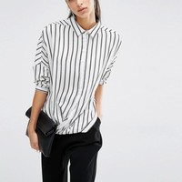Parallel Lines | Parallel Lines Relaxed Wrap Front Shirt In Stripe Print at ASOS