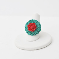 Red and Teal Flower / Spring Gold Plated Ring  Mothers by jMilagro