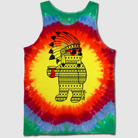 Headress Bear Tie Dye Mens Tank Top